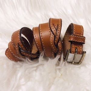 Levi's skinny brown leather double weave belt!